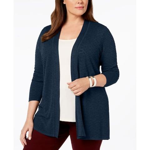Charter Club Women's Sweater Blue Size 2X Plus Open Front Cardigan