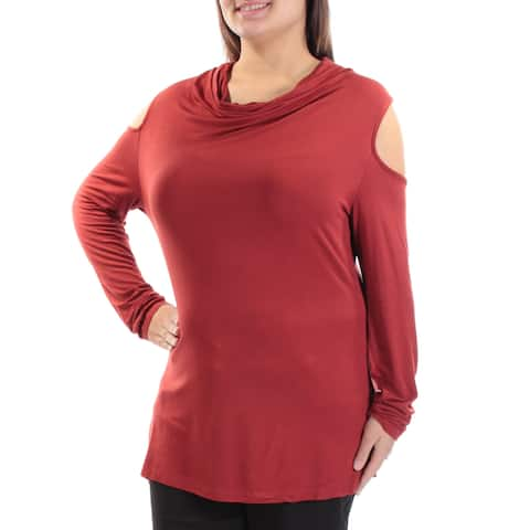 LOVE SCARLETT Womens Red Coldshoulder Long Sleeve Cowl Neck Top Size: XL