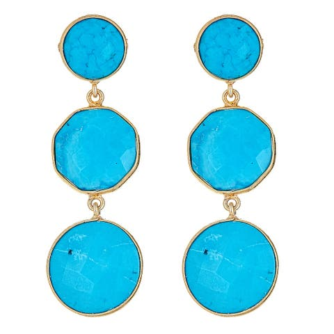 925 Sterling Silver Genuine Turquoise Dangle Earring