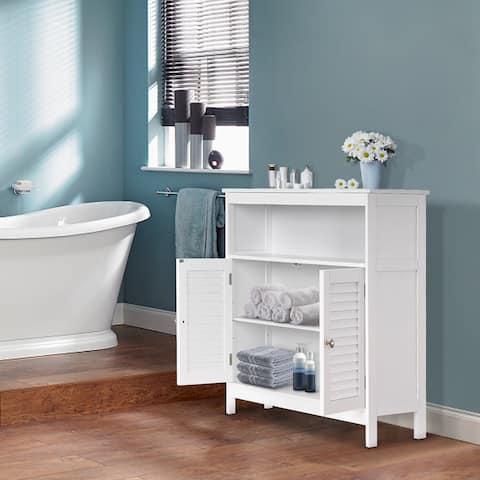 Ivinta Bathroom Floor Storage Cabinet White with Adjustable Shelf and Shutter Doors - 23.6*11.3*31.6 in