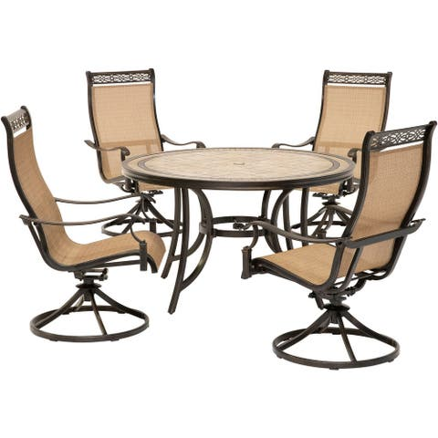Monaco 5-Piece Dining Set with Four Sling Swivel Rockers and a 51 In. Tile-Top Dining Table