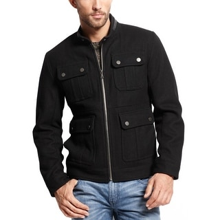 INC International Concepts Wool Blend Full Zip Jacket Small S Black Solid