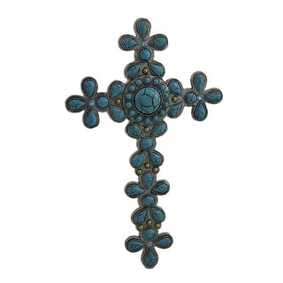Divine Flower Design Faux Turquoise Stone Decorative Wall Cross - 8.75 X 5.5 X 0.5 inches