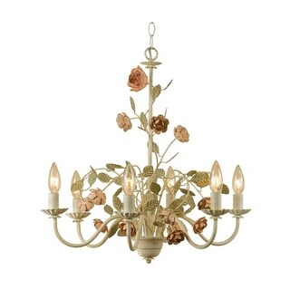 "AF Lighting 7050-6H Elements Series ""Ramblin' Rose"" Six-Light Chandelier with Cut Metal Flowers, Finished in Antique Cream"