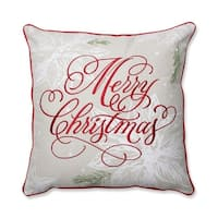 "17"" Beautiful Red Merry Christmas Script Decorative Christmas Throw Pillow"