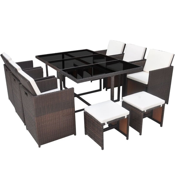 Vidaxl Outdoor Dining Set 27 Piece Poly Rattan Wicker Brown Table Chair Stool