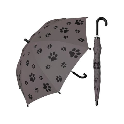 """Rainstoppers Unisex Kids Gray Puppy Paw Print 32"""" Arc Manual Open Umbrella - One Size"""