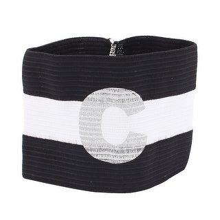 Unique Bargains White Black Stripe Design Stretchy Sports Match Captain Armband Sleeve Badge