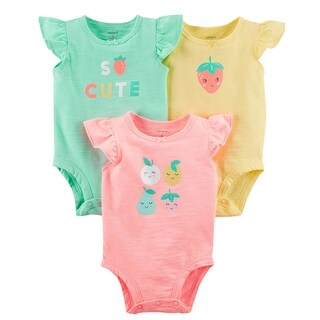 Carter's Baby Girls' 3-Pack Flutter-Sleeve Original Bodysuits, 12 Months