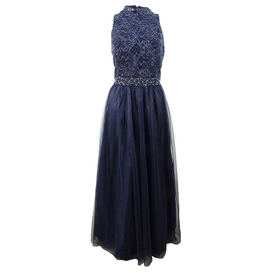 Jessica Howard Womens Sequined Lace & Tulle Gown - Navy