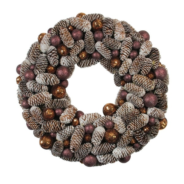 "21"" Nature's Glow Frosted Pine Cone & Ball Ornament Artificial Christmas Wreath - brown"