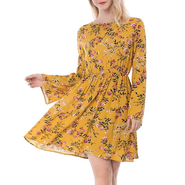Women's Boat Neck Bell Sleeves Swing Boho Casual Floral Dress