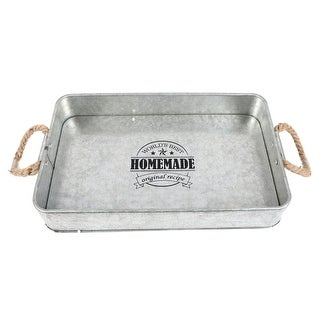 Galvanized Metal Serving Tray with Rope Handles 13 Inches