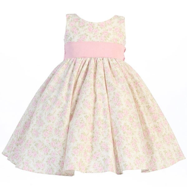 Baby Girls Pink Floral Print Poly Shantung Sash Easter Dress 3-24M