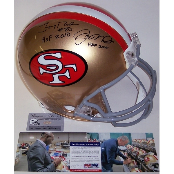 fa28d8259 Shop Jerry Rice   Joe Montana Autographed Hand Signed San Francisco 49ers  Throwback Authentic Helmet - PSA DNA - Free Shipping Today - Overstock -  12785310