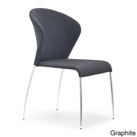 Oulu Steel and Tangerine, Graphite, or Pea Fabric Chair (set of 4)