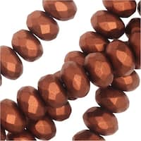 Czech Fire Polished Glass, Donut Rondelle Beads 7x4mm, 40 Pieces, Bronze Copper