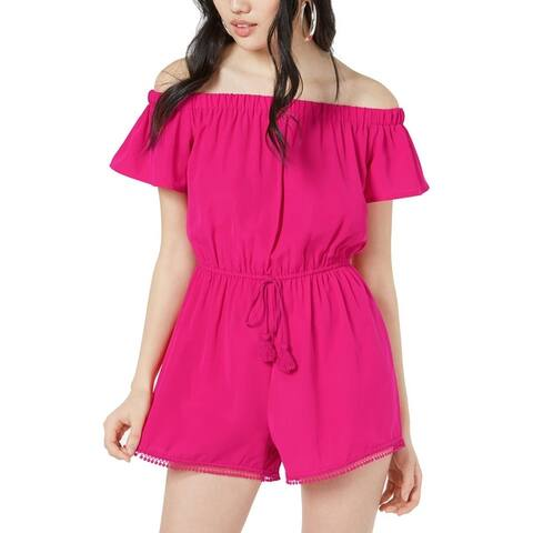 Be Bop Womens Juniors Romper Embroidered Drawstring