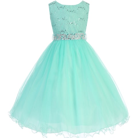 Glitters Sequined Bodice Double Layer Tulle Flower Girl Dress - Mint