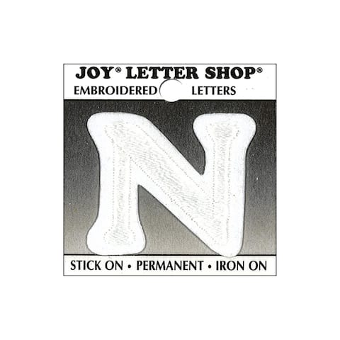 "Joy Applique Letter Iron On Cooper 1.5"" White N"