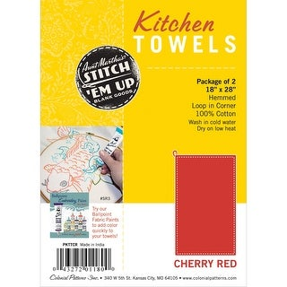 "Stitch 'Em Up Hemmed Color Dyed Kitchen Towels 18""X28"" 2/Pkg-Cherry Red"