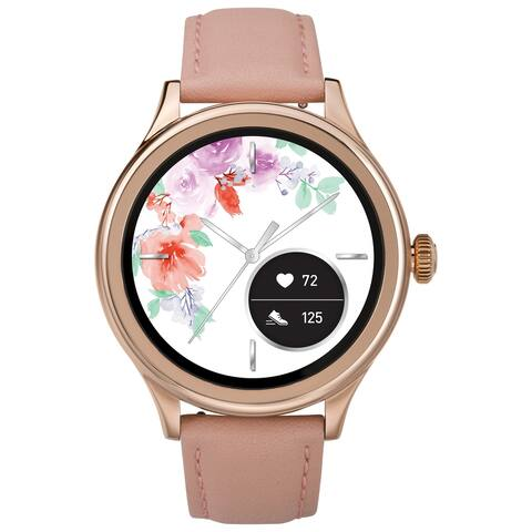 iConnect by Timex Women's Pro AMOLED Smartwatch with Heart Rate 43mm - Rose Gold-Tone with Blush Leather Strap