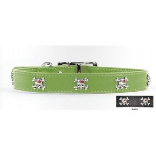 Rockinft Doggie .5 in. x 8 in. Leather Collar with Skull Rivets -