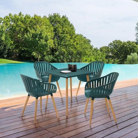 Nassau Outdoor 5 Piece Eucalyptus Dining Set