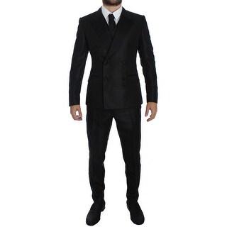 Dolce & Gabbana Black 3 Piece Slim Fit Suit Tuxedo - it48-m