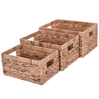 Costway Set of 3 Hand Knitting Rectangle Storage Baskets Steel Frame Organizer
