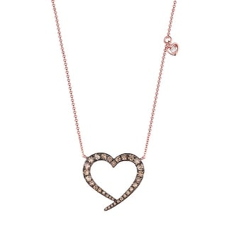 Brand New 0.62Ct Natural Brown/SI1 Diamond Heart Shaped Valentine 17 Inches Necklace - Brown
