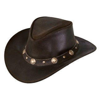 Outback Trading Hat Men Rawhide Leather Vintage Buffalo Chocolate 1376