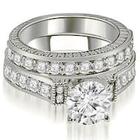 1.65 cttw. 14K White Gold Antique Round Cut Diamond Bridal Set