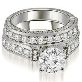 1.90 cttw. 14K White Gold Antique Round Cut Diamond Bridal Set