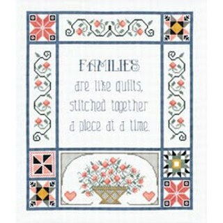 """13""""X15"""" 14 Count - Families Are Like Quilts Counted Cross Stitch Kit"""
