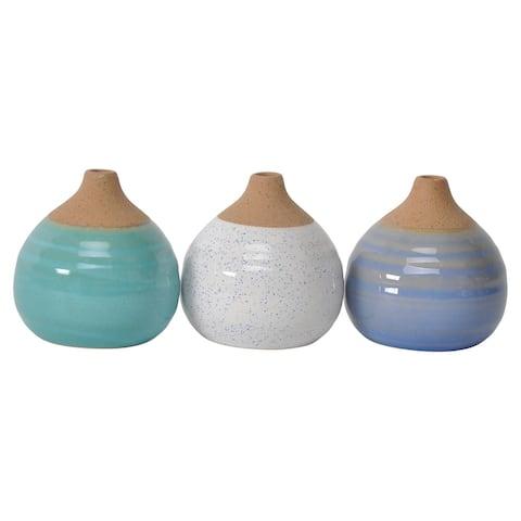 S/3 Glazed Bud Vases, Blue/Turq/White
