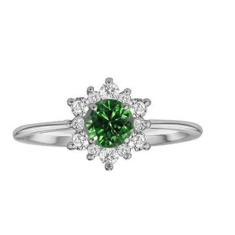 Sterling Silver with Genuine Green Diamond and White Topaz Flower Ring