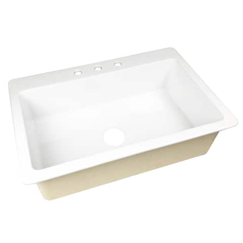 Jackson Drop-in Fireclay 33 in. 3-Hole Single Bowl Kitchen Sink in Crisp White