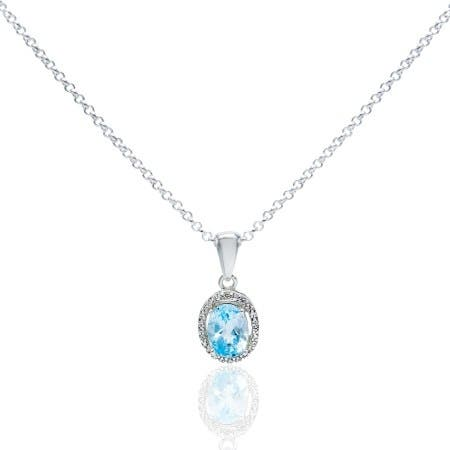 1.8 Carat Oval-Cut Halo Sky BlueTopaz Necklace, Sterling Silver