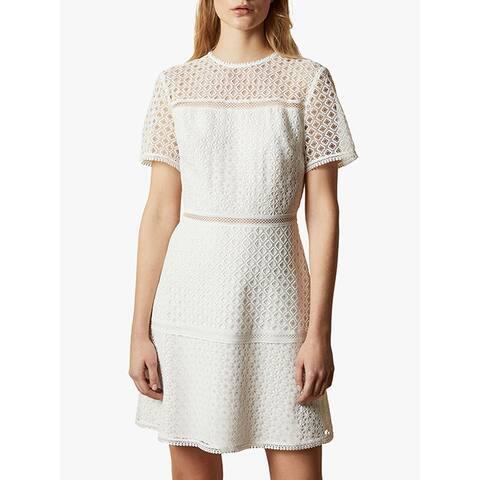 Ted Baker Womens Allara Short Sleeve Dress White Cocktail