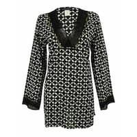 La Blanca Women's V-Neck Embellished Tunic Coverup - BLACK/WHITE