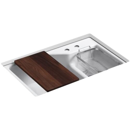 "Kohler K-6411-2 Indio 33"" Double Basin Under-Mount Enameled Cast-Iron Kitchen Sink with Smart Divide"