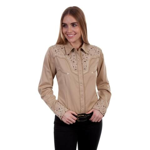 Scully Western Shirt Womens L/S Snap Two-Tone Scroll Embroidery