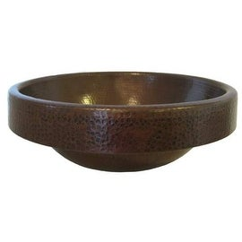 "Miseno MNO-NA410 Round 17"" Copper Drop-In Bathroom Sink - hand-hammered antique copper"