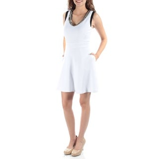 $90 XOXO New Womens 1254 White Sleeveless Fit + Flare Dress Juniors XS B+B