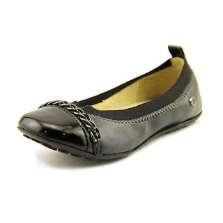 Naturino 3672 Toddler Round Toe Leather Black Ballet Flats