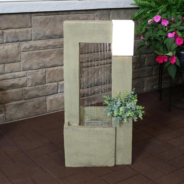 Sunnydaze Garden Shower Outdoor Fountain with Light and Planter - 31-Inch