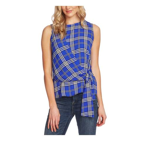 VINCE CAMUTO Womens Blue Plaid Sleeveless Crew Neck Top Size S