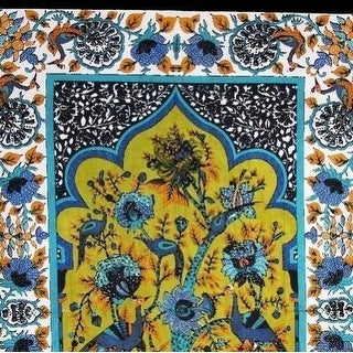 Unique Handmade 100% Cotton Tree of Life Peacock Tapestry Tablecloth 85x60 Green