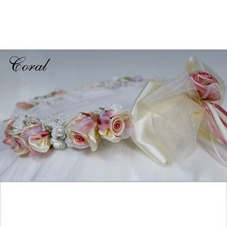 Kids Dream Coral Ivory Floral Accessory Occasion Hairwreath Headpiece